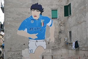 The famous wall painting of Maradona in the Quartieri Spagnolo